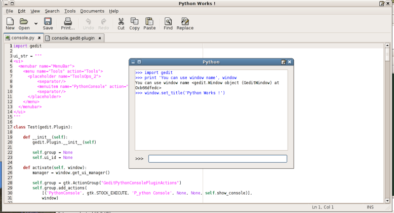 Gedit showing the python console