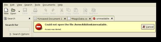Unreadable file error